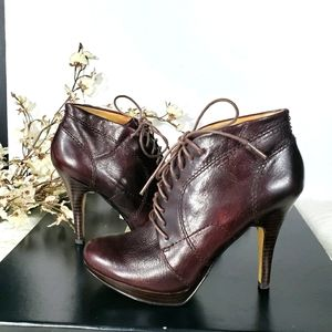 NINE WEST wine Trixxy lace up heel round toe boots